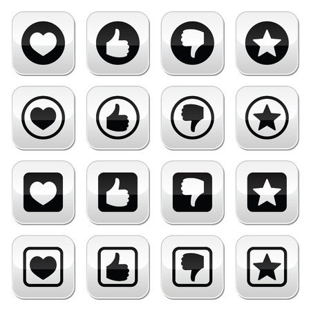 Like thumb up, love, favorite icons set Vector