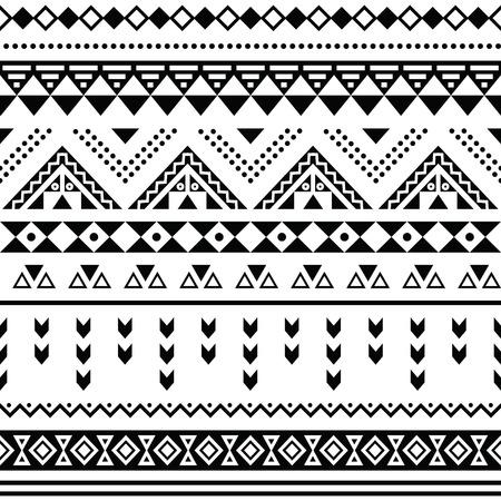 Tibal シームレスなパターン、白いアステカ prin の背景に黒  イラスト・ベクター素材