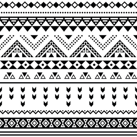 Tibal seamless pattern, white aztec prin black on background Vector