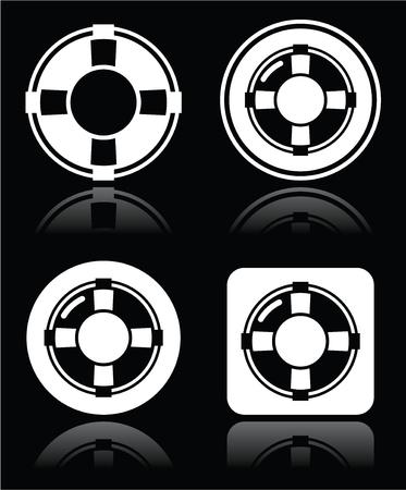 life belt: Life belt, help, S O S  vector white icons set on black Illustration