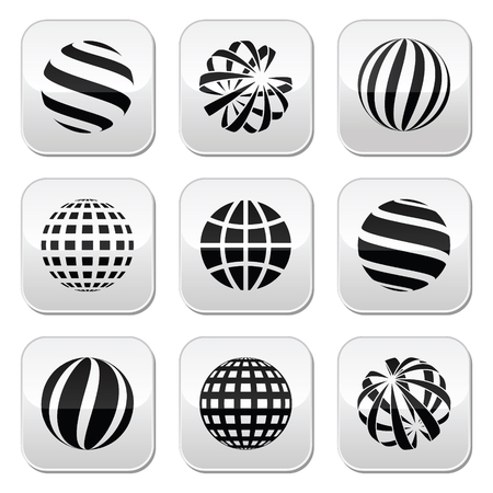 Globe sphere, earth vector buttons set Vector