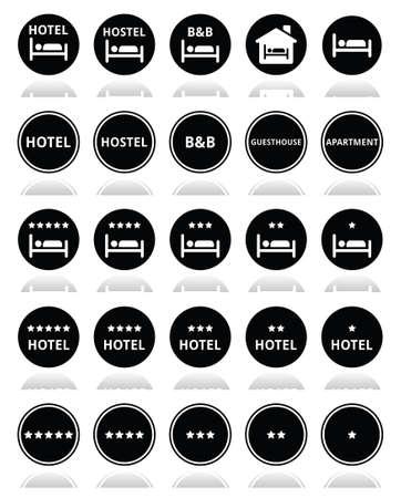 Hotel, hostel, B B with stars round icons set