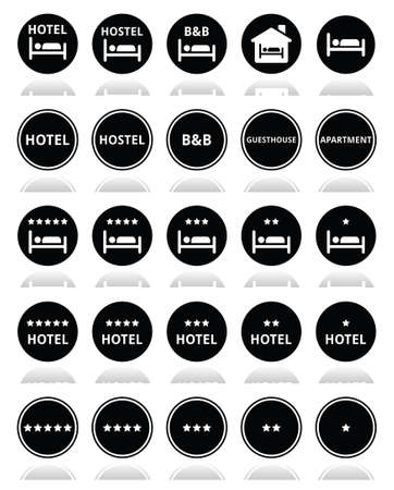 Hotel, hostel, B B with stars round icons set  Vector