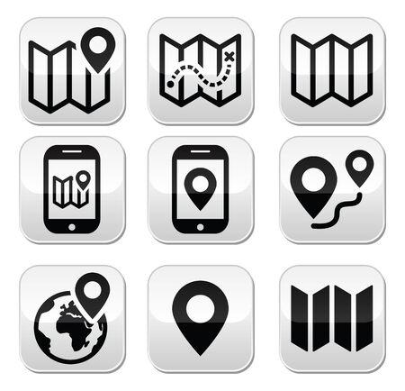 Map travel buttons set Vector