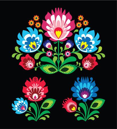 Polish floral folk embroidery pattern on black - wzor lowicki Vector