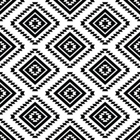 部族のシームレスなパターン、アステカの黒と白の背景  イラスト・ベクター素材