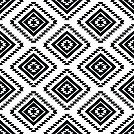 mexican folklore: Tribal seamless pattern, aztec black and white background
