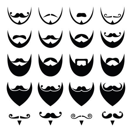 osito caricatura: Barba con bigote o bigote iconos conjunto