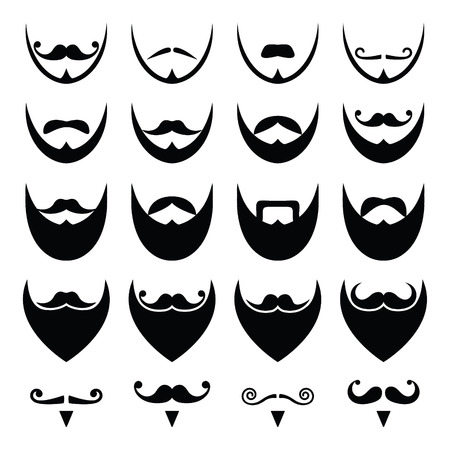 white moustache: Beard with moustache or mustache icons set Illustration