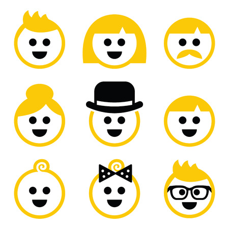 People with blond hair icons set  Illustration