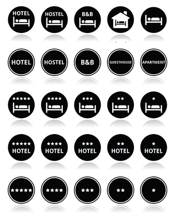 Hotel with stars round icons set  Vector