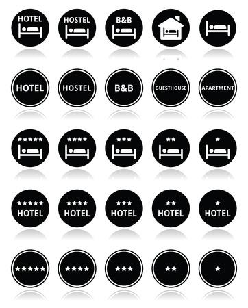 sleeping room: Hotel with stars round icons set