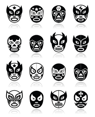 trajes mexicanos: Lucha libre, luchador de lucha libre mexicana máscaras negras iconos