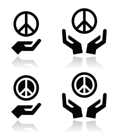 world war two: Peace sign with hands icons set