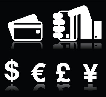debit card: Credit or debit card, currency exchange white icons on black