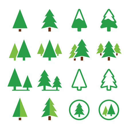 Pine tree, park  green icons set