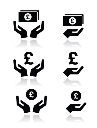 gb: Hands with pound banknote, coin icons set