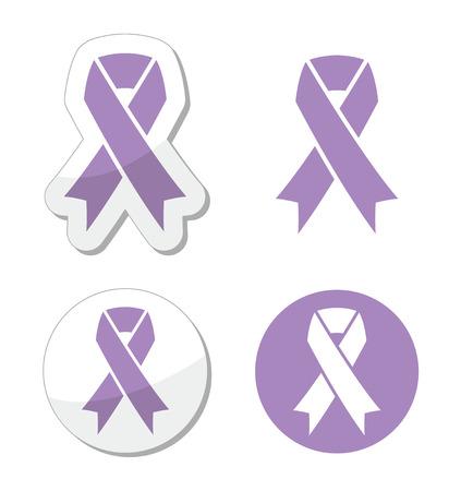 Lavender ribbon - general cancer awareness, epilepsy, Rett syndrome symbol Vector