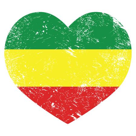 Rasta, Rastafarian retro heart shaped flag Vector