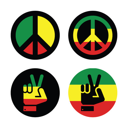 peace flag: Rasta peace, hand gesture icons set
