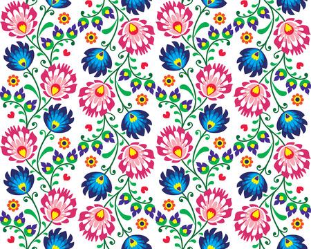 kaszuby: Seamless folk Polish pattern - wzor lowicki