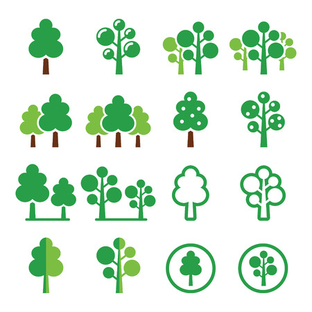 Trees park green icons set
