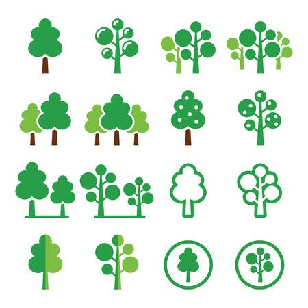 park icon: Trees park green icons set