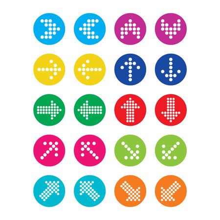 icone tonde: Tratteggiate frecce colorate icone rotonde impostare isolato su bianco