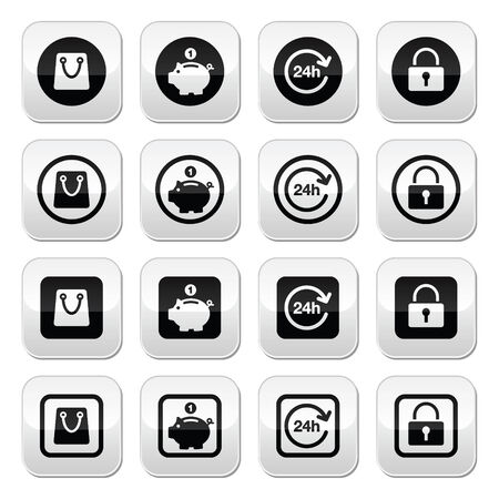 Shopping buttons set - account, save, 24h, shopping bag Vector