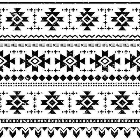 mexican folklore: Tribal aztec retro seamless pattern on white Illustration