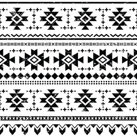 aztec art: Tribal aztec retro seamless pattern on white Illustration