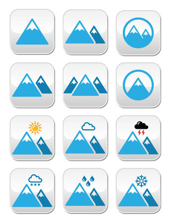 Mountain winter buttons set  Vector