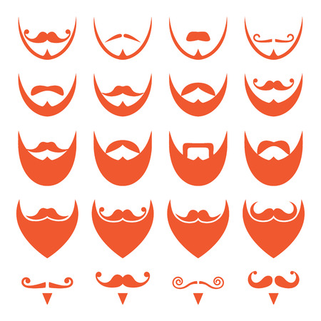 Ginger beard with moustache or mustache icons set Vector