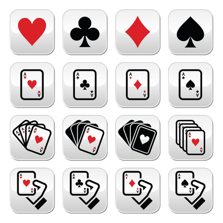 Playing cards, poker, gambling buttons set Vector