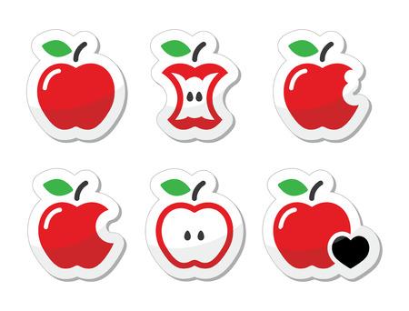 bite apple: Apple bitten, half vector labels set