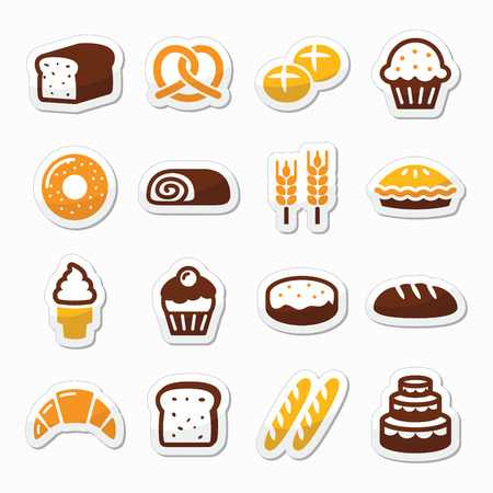 Bakery, pastry icons set - bread, donut, cake, cupcake Vector