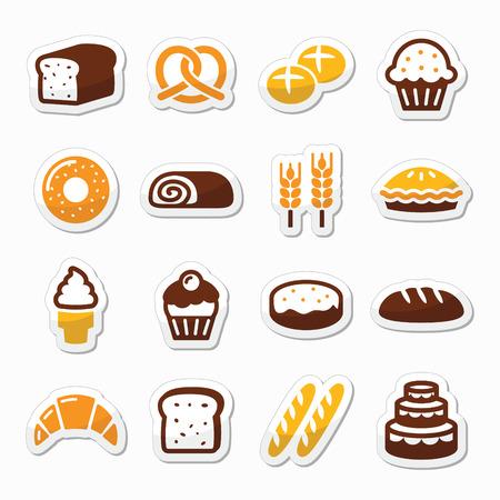 prepare: Bakery, pastry icons set - bread, donut, cake, cupcake Illustration