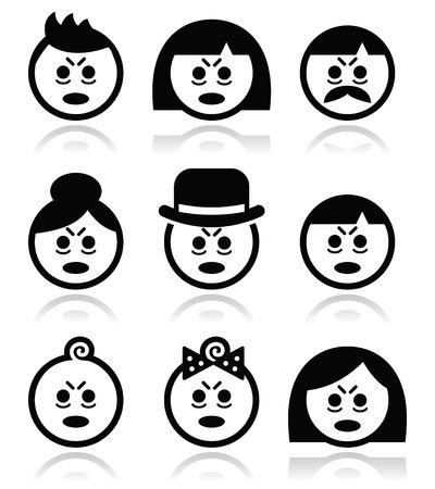 personas enfermas: Las personas cansadas o enfermas se enfrenta a iconos conjunto