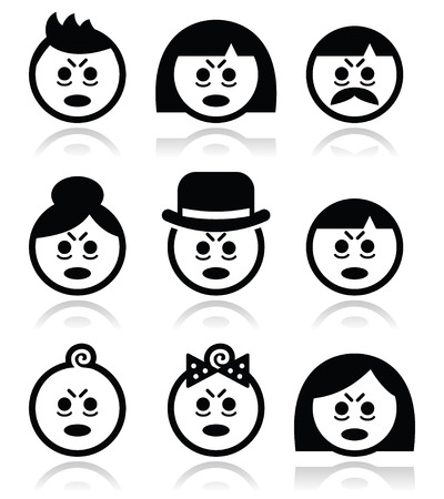 sleepy woman: Tired or sick people faces icons set