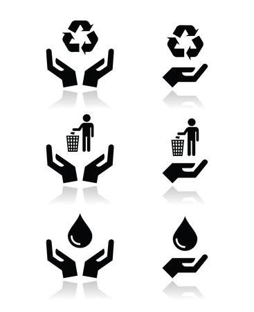 secured: Hands with green, ecology symbols icons set Illustration