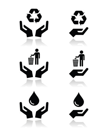 Hands with green, ecology symbols icons set Illustration