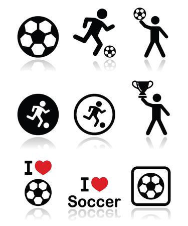 offside: I love football or soccer, man kicking ball icons set