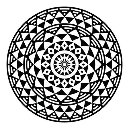 geometricos: Patrón tribal azteca geométrica o de impresión en el círculo - folclórica