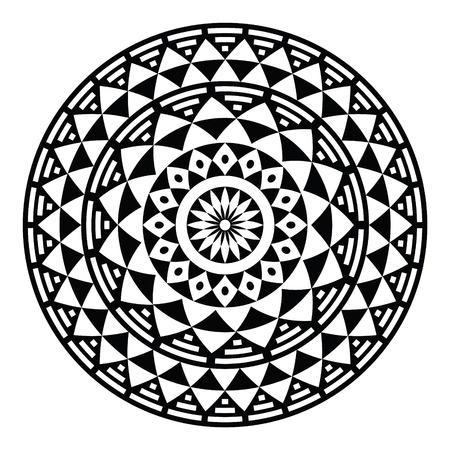 Tribal aztec geometric pattern or print in circle - folk Vector
