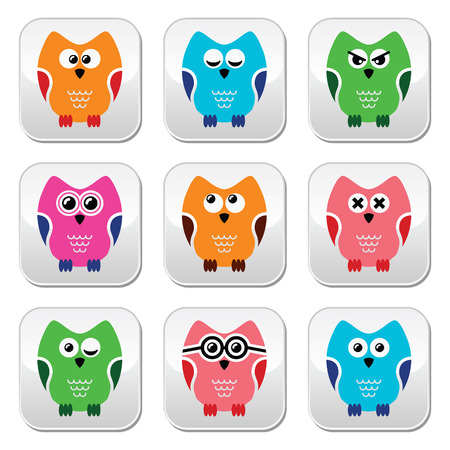Owl cartoon icons set Vector