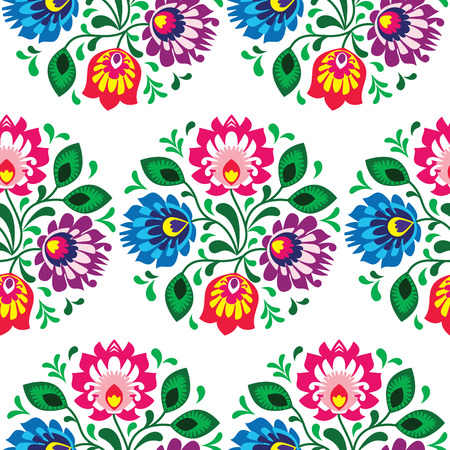 Seamless traditional floral pattern from Poland on white background Vector