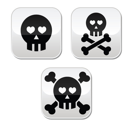 Cartoon skull with bones and hearts vector buttons set Vector