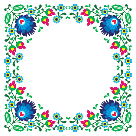 Polish floral folk embroidery frame pattern - wzory lowickie Vector