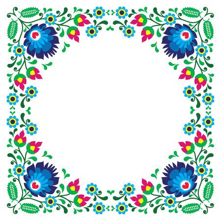Polish floral folk embroidery frame pattern - wzory lowickie
