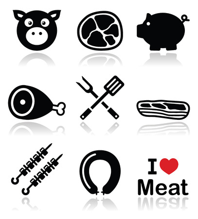 Pig, pork meat - ham and bacon icons set  Vector